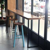 厂家麦德嘉品牌供应靠墙复古美式乡村吧台吧桌高吧台长条桌定做 实木人造石定做餐桌子