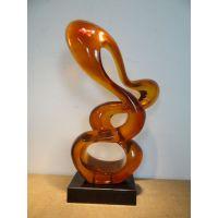 供应深圳透明树脂雕塑 陈设艺术品摆件 琥珀色雕塑工艺品摆件 酒店会所样板房艺术品