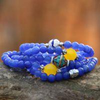 泰国佛牌手链  多层手链  爱情珠 蓝水晶缠绕串珠手饰 男/女