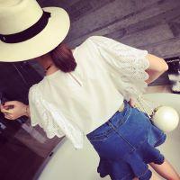 小银子2015夏装新款俏皮减龄小清新蝴蝶袖棉质短袖T恤女上衣T6136
