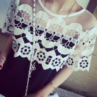 小银子2015夏装新款肩部透视水溶蕾丝拼接雪纺T恤YA