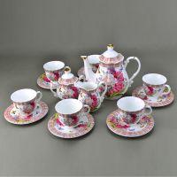 陶瓷咖啡具套装 高档花开富贵16头陶瓷杯具 商务礼品婚礼品供应