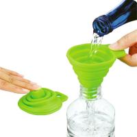 可折叠便携式创意硅胶厨具 易收纳伸缩油壶硅胶漏斗