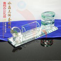 华南植物园学术讲座纪念品 水晶笔筒摆件 实用型办公用品 精兴厂家专业定制