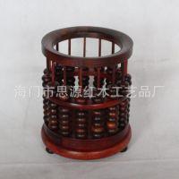 思源红木 红酸枝珠算笔筒 可旋转笔筒 木质工艺品 l礼品定制
