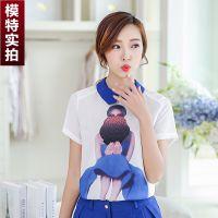 2015新款实拍精品印花雪纺衫女 2015夏季新款短袖上衣打底衫