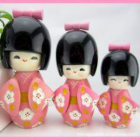 海外木质工艺礼品正品日本娃娃摆件卡通可爱家居装饰品生日礼物