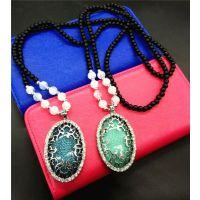 新款百搭长款韩国毛衣链琥珀裂纹方块宝石项链女时尚夸张配饰项链
