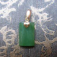 【亚太珠宝】金镶玉吊坠|和田碧玉挂件长方形挂坠批发|男女款