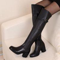 真皮过膝女靴  现货批发中跟长筒高筒女式品牌棉鞋靴子爆