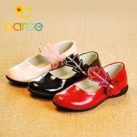 厂家直销  韩式树叶带钻女童鞋 真皮女单鞋