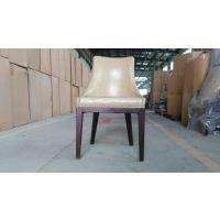 美式餐厅实木椅子 皮艺半扶手椅 上海忱净家具工厂
