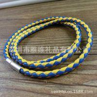 韩版时尚饰品 厂家直销 多彩绳三圈皮革编织手链 淘宝热销