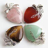 纯天然粉晶吊坠 爱心心形芙蓉石项链 欧美时尚饰品外贸速卖通爆款