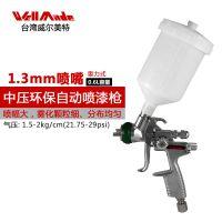 台湾WellMade威尔美特进口 小型中压环保自动气动喷漆枪汽车油漆喷枪WU-1161