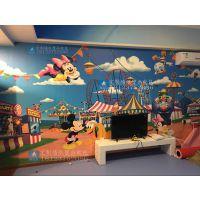 酒店个性儿童壁纸定制 宾馆主题卡通墙纸装修 卡通迪斯尼墙纸壁画厂家海星