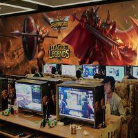 网吧英雄联盟背景墙壁画 网咖LOL墙纸 游戏人物无纺布壁纸