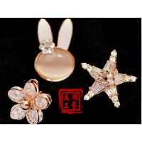 供应五金小动物水晶胸针定做 17棵水晶钻胸针 丝巾扣领针两用生产品