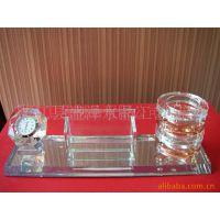 K9印花雕刻水晶玻璃,带表带名片夹笔筒,水晶内雕和水晶球