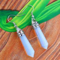 【厂家直销】 欧美爆款 时尚天然水晶宝石耳饰 蛋白石六角柱耳环