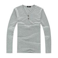 韩版V领白色纯色空白男式男装长袖T恤 男士T恤男T恤批发 打底衫