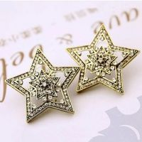 来自星星的你同款耳环 复古个性时尚五角星饰品超闪水钻耳钉夸张