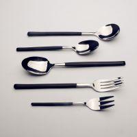 欧式西餐餐具电镀黑金磨砂手柄 不锈钢牛排刀叉勺汤更 甜品勺