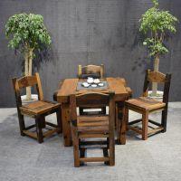 老船木茶桌客厅茶几阳台茶台茶桌椅组合方形茶桌船木家具四方桌