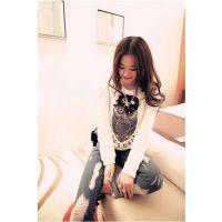 Miss JTO新款T恤韩版钉珠猫头鹰镂空大码修身中长款上衣A20#22506