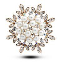 珍珠胸针 水晶花朵 韩国披肩扣 韩版丝巾扣 女 满包邮 两用 4982
