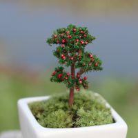 迷你果树桃花树 苔藓微景观饰品 DIY仿真材料 装饰造景樱花树