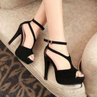 厂家批发新款欧美高跟凉鞋女 潮夜店坡跟鞋防水台鱼嘴鞋 真皮女鞋
