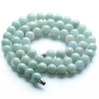 天然A货翡翠豆种玉珠项链 缅甸翡翠玉颈链 时尚高贵
