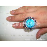 14年新款欧美流行藏银 绿松石镶钻戒指 2元店地摊热卖 厂家批发