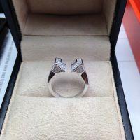 韩国进口纯银925银饰双头另类微镶满钻戒指活口刻调节个性镀白金