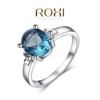 321大促ROXI外贸韩风首饰手饰批发奥地利水晶个性粉蓝色钻石戒指