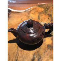 桂林鸡血玉茶壶 天然鸡血玉原石雕刻茶壶茶具 手把玩壶茶壶摆件