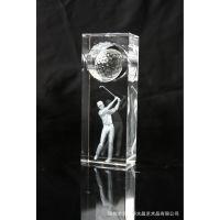 水晶内雕工艺品高尔夫奖杯 高尔夫用品 高尔夫奖品奖座