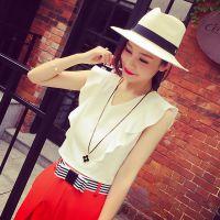 小银子2015夏装新款简约荷叶边装饰V领清凉背心上衣T5337