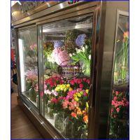 香水百合花束冷藏展示柜,立式方形直角鲜花柜,黄山三面玻璃鲜花保鲜柜