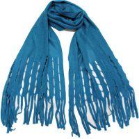 外贸订单成人冬季保暖仿羊绒平板针织大经编棱格镂空拉条流苏围巾