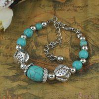 B1338外贸异域风古银松石串珠手链 不规则叶子珠珠手链