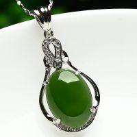 天然菠菜绿和田碧玉吊坠 925银镶玉瓶挂坠保平安女士时尚项链挂件