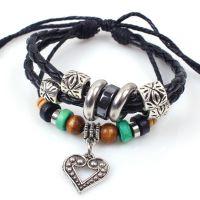 欧美时尚手工编织木珠串珠皮绳手链 小爱心多层手链 爱心手链