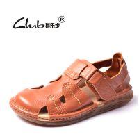 2015秋季新款真皮包头凉鞋 厂家直销品牌男式沙滩鞋 时尚外贸男鞋