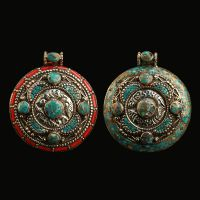 厂家热销尼泊尔首饰品 藏传镶绿松石吉祥八宝吊坠项牌纯铜项坠