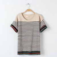2015春装新款女装韩版圆领短袖百搭纯棉条纹T恤打底衫女上衣
