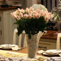 橡树庄园 欧式高档玫瑰仿真绢花艺 客厅婚房干花套装饰品摆件