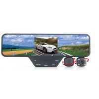 P060B行车记录仪 3.5寸高清TFT屏 车载放碰瓷后视镜双镜头 批发