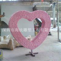 婚庆公司专用LOVE字母造型 玻璃钢情人节心形婚纱摄影道具 定做心形礼盒雕塑、橱窗雕塑、恋爱物语